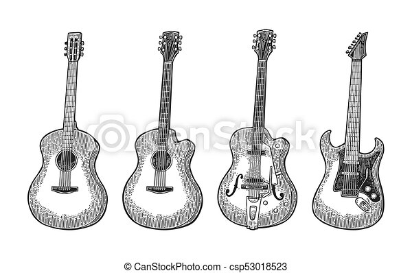 Acoustic and electric guitar vintage vector black engraving illustration for poster web isolated on white background