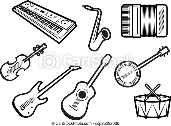 Outline Sketch Acoustic And Electric Musical Instruments