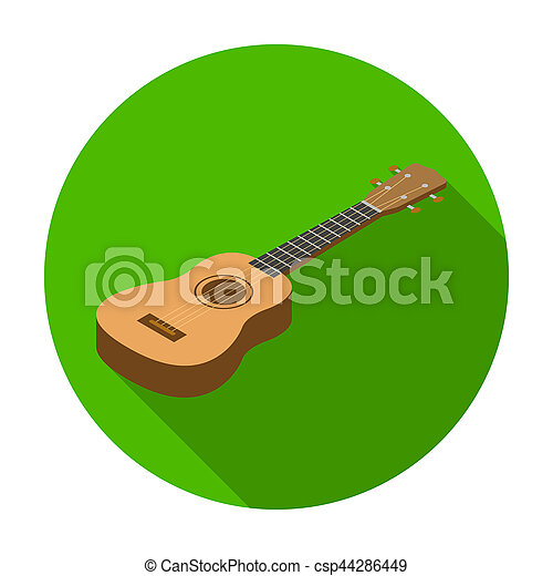 Acoustic Bass Guitar Icon In Flat Style Isolated On White Background