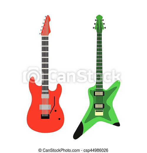 acoustic electric guitar vector icons set isolated vector rh canstockphoto com