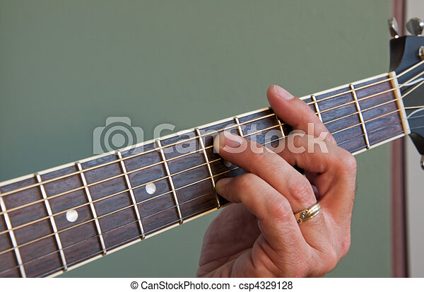 Acoustic guitar chord. Hand fingering barred g7 chord on acoustic ...