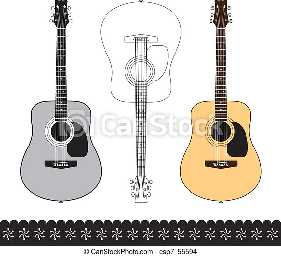 Acoustic Guitar Design Set Acoustic Guitar Isolated On White