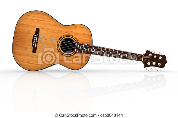 acoustic guitar 3d render illustration drawing search clip art rh canstockphoto com Acoustic Guitar Outline simple acoustic guitar clipart