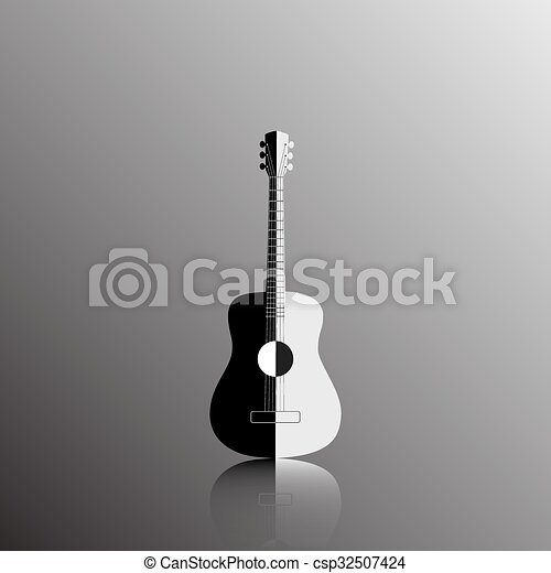 Acoustic Guitar In Black And White Color Vector Illustration