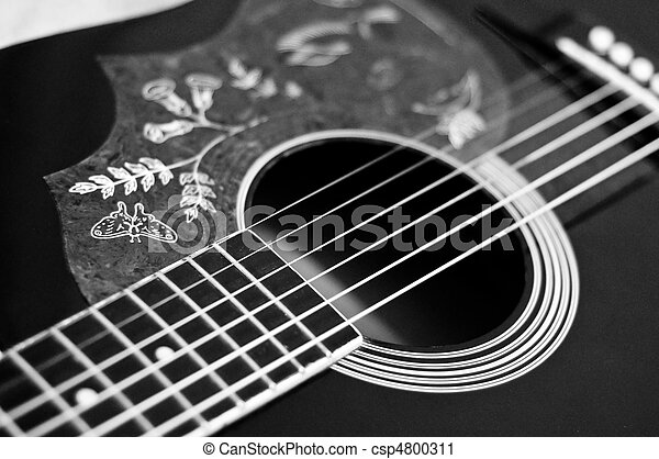 Black And White Acoustic Guitar Stock Photography