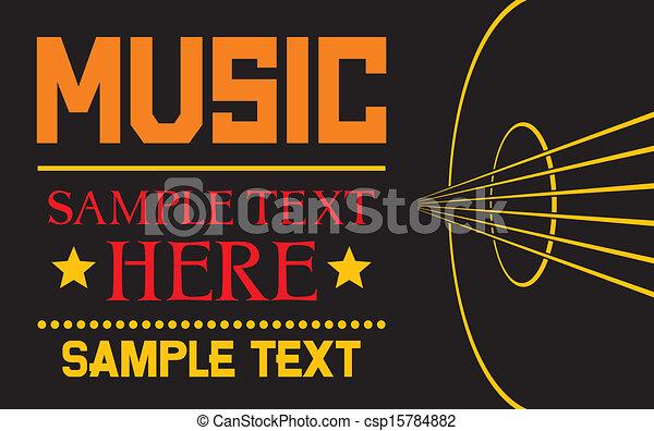 Line Art Poster Design : Acoustic guitar vector background musical poster design