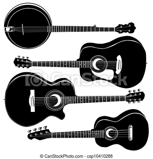 Acoustic guitars vector silhouettes - csp10410288