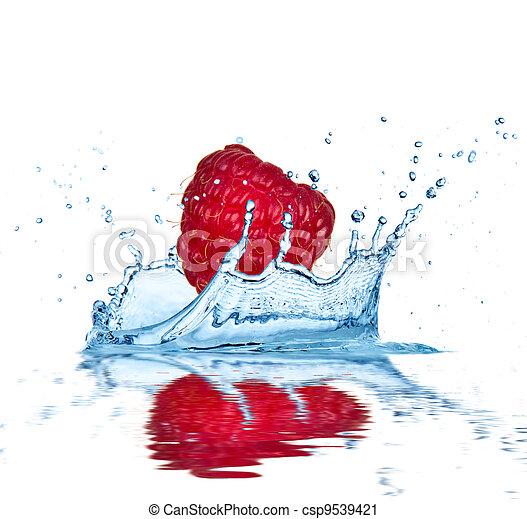 acqua, cadere, frutta - csp9539421