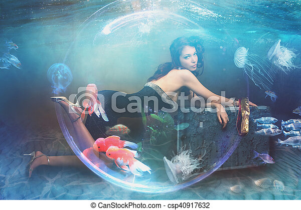 acqua, fantasia, donna, fondo marino, sotto - csp40917632