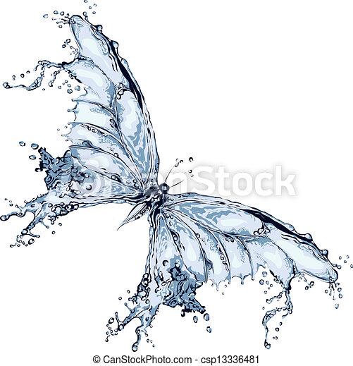 acqua, farfalla, schizzo - csp13336481