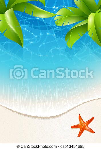 acqua, foglie, palma, sopra - csp13454695