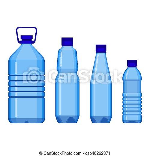 acqua, grande, piccolo, bottiglie, linea - csp48262371