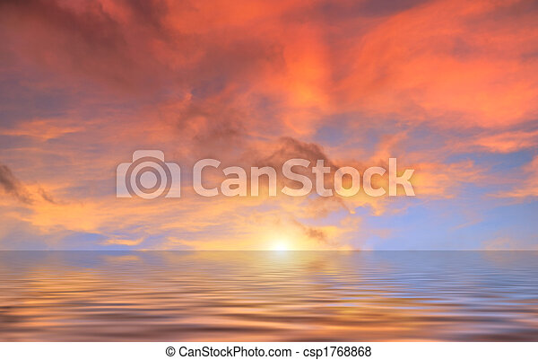 acqua, nubi, tramonto, rosso, sopra - csp1768868