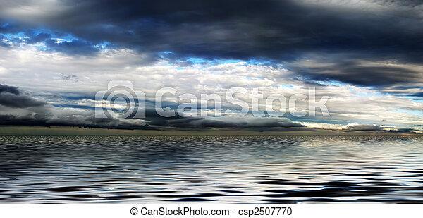 acqua, panorama, cielo, nuvoloso, sopra - csp2507770