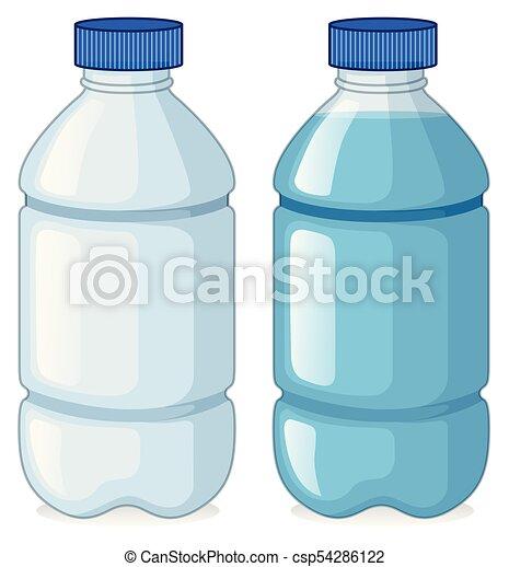 acqua, senza, bottiglie, due - csp54286122