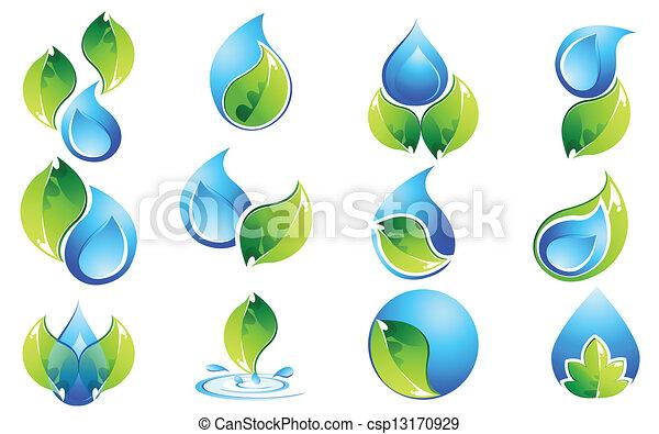 acqua, set, foglia, icona - csp13170929