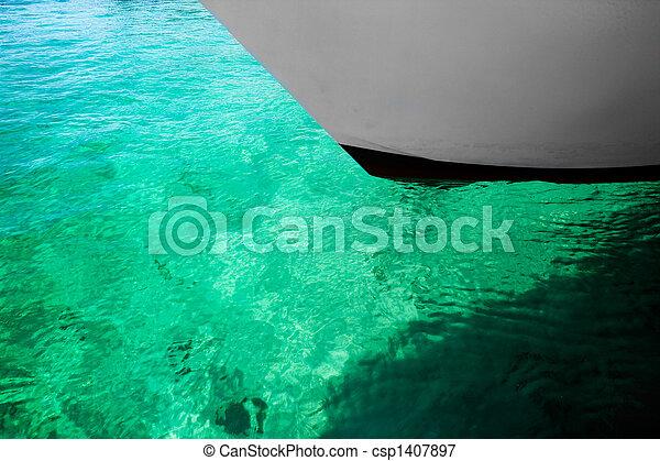 Acqua Sfondo Verde Acqua Astratto Verde Bakground Barca