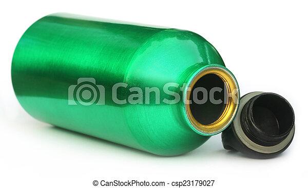 Acqua Verde Bottiglia Bottiglia Sopra Acqua Sfondo Verde Bianco