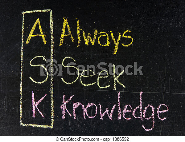Acronym of ask - always seek knowledge stock photos ...