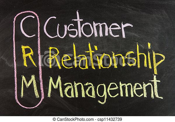 Acronym of CRM - Customer Relationship Management written on a blackboard - csp11432739