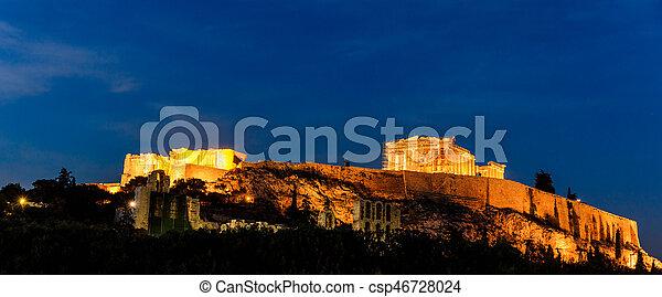 Acropolis of Athens, Greece at evening - csp46728024