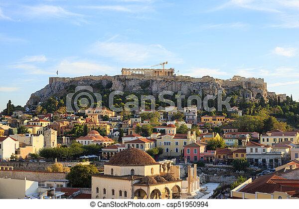 Acropolis rock and Monastiraki. Athens, Greece. - csp51950994