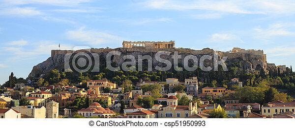 Acropolis rock over Plaka. Athens, Greece. - csp51950993