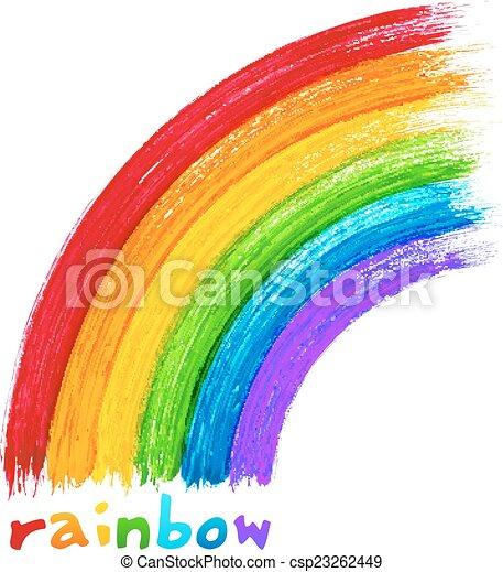 Acrylic painted rainbow, vector image - csp23262449