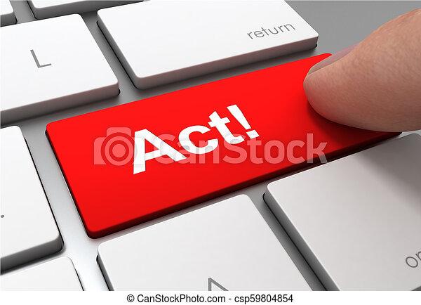 act button concept 3d illustration - csp59804854