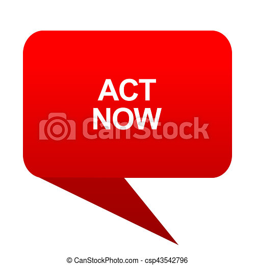 act now bubble red icon - csp43542796