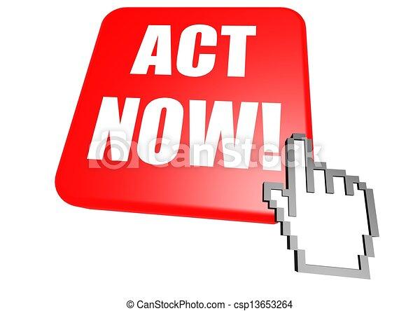 Act now button with cursor - csp13653264