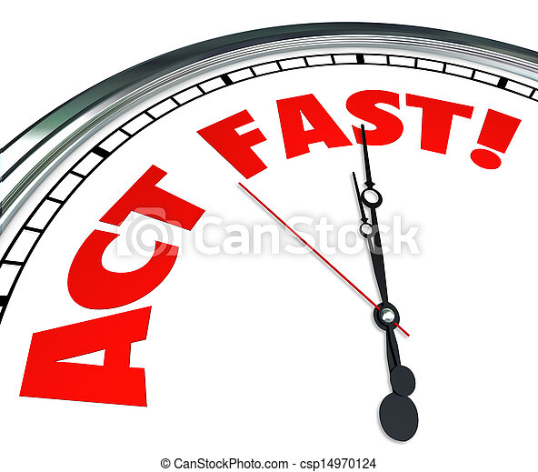 Act Now Clock Time Urgency Action Required Limited Offer - csp14970124