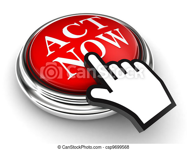 act now red button and pointer hand - csp9699568