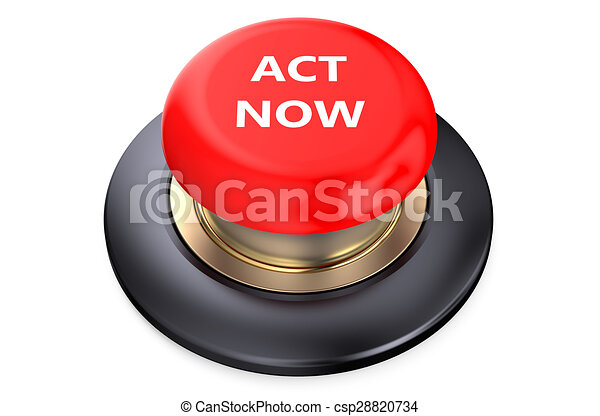 """Act now"" Red push-button - csp28820734"