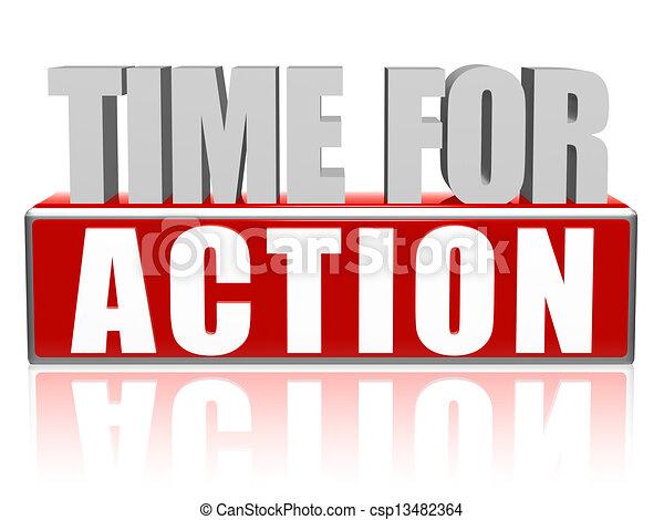 actie, 3d, brieven, blok, tijd - csp13482364