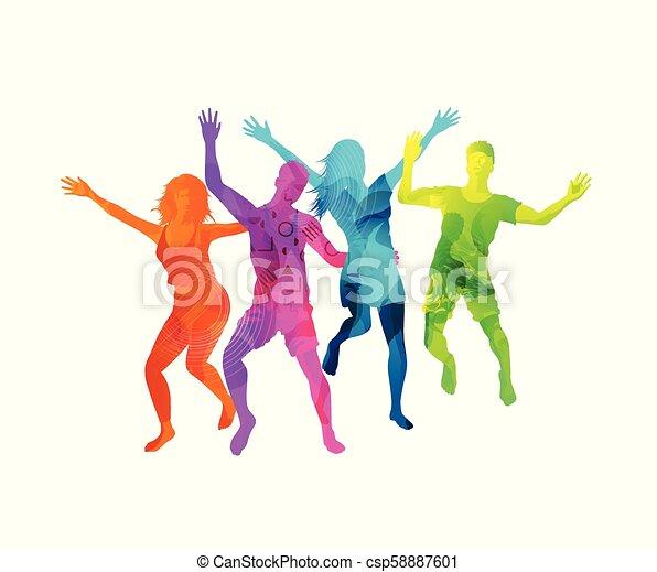 actif, heureux, sauter, gens - csp58887601