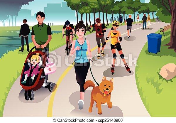 actif, parc, gens - csp25148900