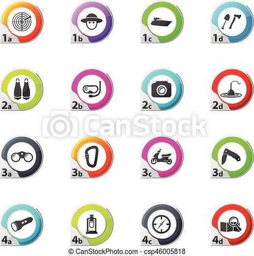 actif, récréation, ensemble, icônes - csp46005818