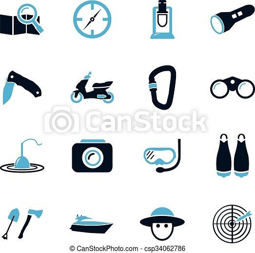 actif, récréation, icônes - csp34062786