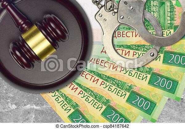 action éviter, 200, procès, ou, desk., concept, impôt, judiciaire, bribery., police, tribunal, factures, rubles, juge, russe, menottes, marteau - csp84187642