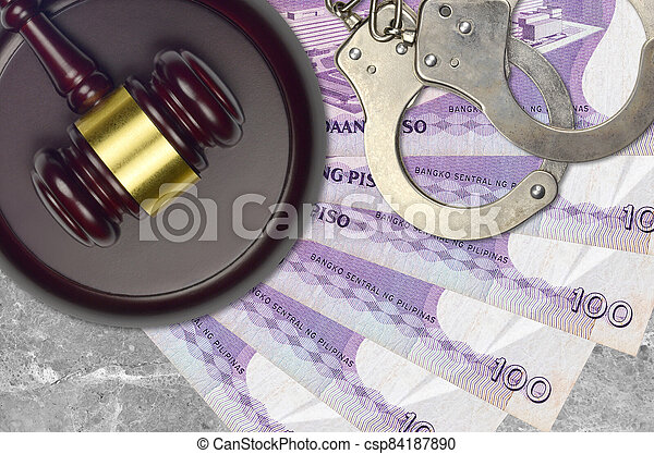 action éviter, piso, procès, 100, ou, desk., concept, impôt, judiciaire, police, tribunal, factures, philippine, juge, bribery., menottes, marteau - csp84187890