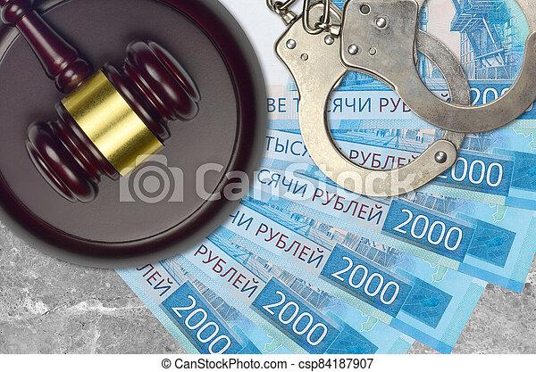 action éviter, procès, ou, desk., concept, impôt, judiciaire, bribery., police, tribunal, factures, rubles, juge, russe, 2000, menottes, marteau - csp84187907