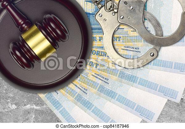 action éviter, procès, ou, desk., forint, concept, impôt, 1000, judiciaire, hongrois, police, tribunal, factures, juge, bribery., menottes, marteau - csp84187946