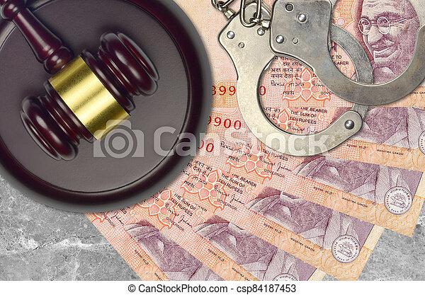 action éviter, procès, ou, desk., concept, impôt, rupees, judiciaire, 10, police, tribunal, factures, indien, juge, bribery., menottes, marteau - csp84187453
