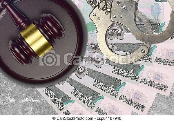 action éviter, procès, ou, desk., concept, impôt, 1000, judiciaire, bribery., police, tribunal, factures, rubles, juge, russe, menottes, marteau - csp84187948