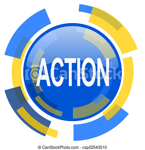 action blue yellow glossy web icon - csp32543510