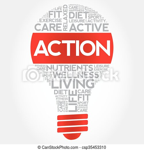 Action bulb word cloud - csp35453310