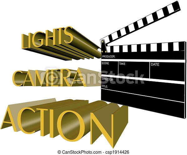 Lights Camera Action Call For Movie In 3d On White