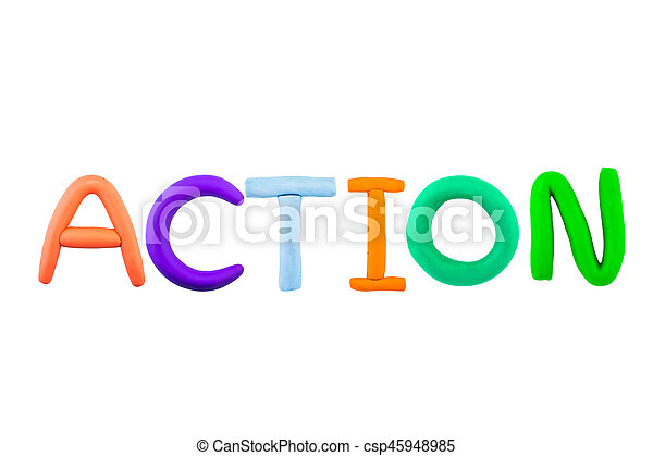 Action , clay on white the background - csp45948985