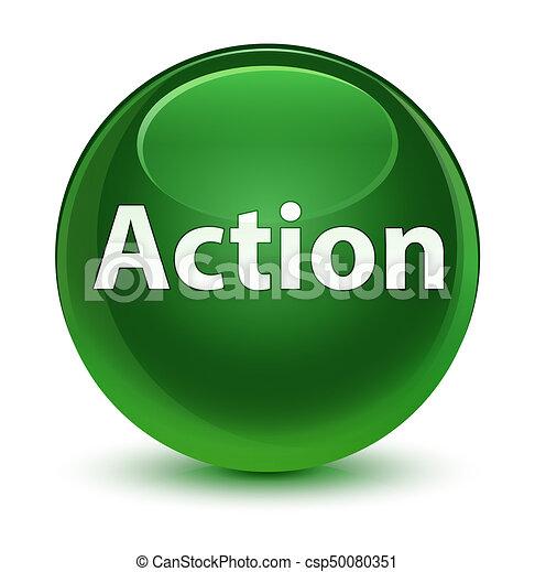 Action glassy soft green round button - csp50080351